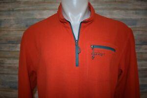ORVIS TROUT BUM Large Men's L/S Waffle Fleece 1/4 Zip Pullover Orange