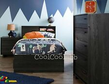 4 Piece Gray Twin Size Sliding Storage Headboard Bed Set Home Bedroom Furniture