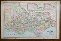"1902 Vintage VICTORIA AUSTRALIA Atlas Map 22""x14"" Old Antique Original MELBOURNE"