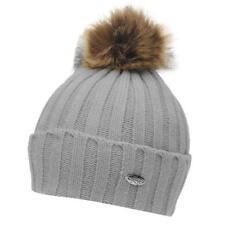 BNWT Women's Firetrap Bobble Beanie Cable Hat Cap Retro Winter Gift Grey