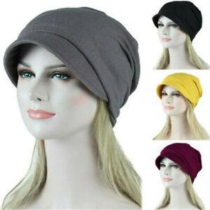 Women Solid Muslim Hair Loss Head Scarf Hat Stretch Cancer Chemo Turban Wrap Cap