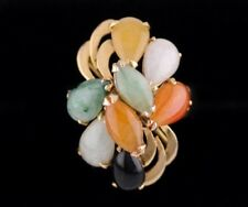vintage solid 14k Yellow Gold Multi color Jade Jadeite Cocktail Ring Size 6