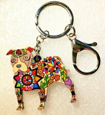 Pit Bull Dog Acrylic Key Ring Multicolor Floral Keychain Jewelry