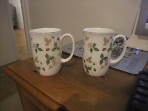 A Beautiful Wedgwood Pair Of Mugs In The Wild Strawberry Pattern