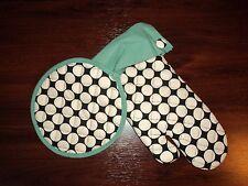 NEW Grandway Honduras Oven Mitt & Pot Holder Set - Cream Dot/Teal Pattern