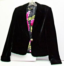 WDNY Black Velvet Jacket Pink Tropical Floral Lining Jewel  Button Woman Size 8