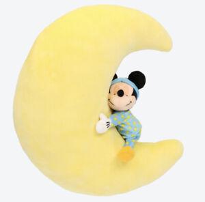 Disney Mickey Mouse Crescent Moon Plush Large Cushion Tokyo Disneyland Japan