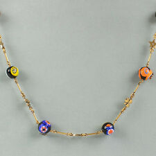 NWT CHRISTIAN DIOR Multi Charms Antique Gold Long Necklace