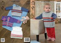 "King Cole Knitting Pattern 3723 Baby Sweater Cardigan Top 16-24"" DK Boys Girls"