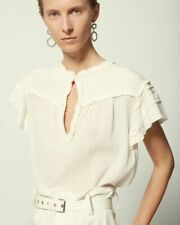 Isabel Marant Irving Top Ruffle Pintuck White Round Neck Blouse Short Sleeve M