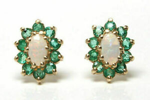 3Ct Oval Cut Opal & Emerald Push Back Halo Stud Earrings 14K Yellow Gold Finish