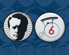 The Prisoner McGoohan Penny Farthing Two buttons set NO 6  & Silhouette badges