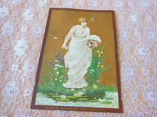 Victorian Christmas Card/Art Nouveau Style Lady with Flowers/Raphael Tuck