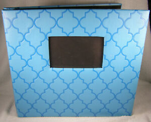 """Large Blue Geometric Photo Album - Holds 100 - 11-1/2"""" by 11-1/2"""" Images"""