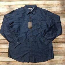 Weatherproof Mens Button Up Diamond Dobby Shirt Indigo Blue XL Metal Button