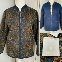 House Of Bruar Green & Navy Quilted Jacket Size 14 NWT Paisley Cotton Reversible