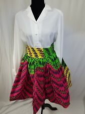 "Women African Ankara Print High Waist 31"" With One Sided Pocket Short Skirt SZ 8"