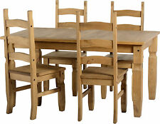 Seconique CORONA Distressed Mexican Pine 5ft Dining Set & 4 Pine Seat Pads Pine