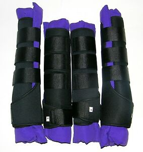 HORSE STABLE BOOTS / WRAPS, SET OF FOUR IN PURPLE COLOR