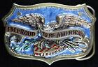 Great American Buckle Co Proud to be American Belt Buckle H1459 Patriotic Enamel