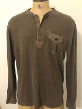 POLO By RALPH LAUREN Mens Brown 1/4 Button Long Sleeve Pull Over Size XL,t shirt