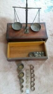 Antique Brass Balancing Scale Set w/Wooden Box Weight, Accessories