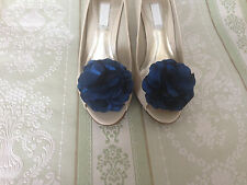 NAVY BLUE FLOWER SHOE CLIPS VINTAGE STYLE GLAMOUR