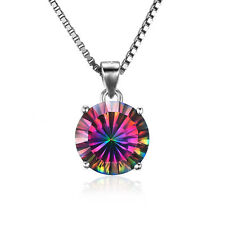 15 mm 4ct Genuine Mystic Topaz Round Necklace Pendant solid 925 Silver STUNNING