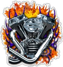 """Motorcycle Engine Fire Bike Biker Gothic Car Bumper Vinyl Sticker Decal 4""""X5"""""""