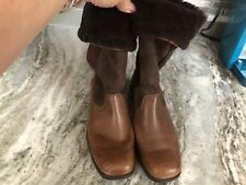 UGG Leather UPPER Shearling LINING BOOTS Brown SIZE 10 Style 5594