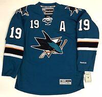 "JOE THORNTON SAN JOSE SHARKS TEAL REEBOK NHL PREMIER JERSEY WITH ""A"""