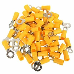 100Pcs 12-10AWG Yellow RV5.5-6 Circular Pre Insulating Wire Crimp Ring Terminals