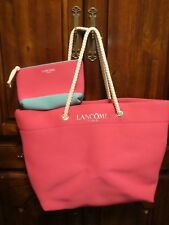 LANCOME-TOTE WITH MAKEUP BAG-PINK WITH ROPE HANDLE-SUPER CUTE SET!!!