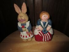 Lot of (2) patriotic figurines rabbit Martha Washington 4th of July patriotic