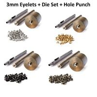 100 Pcs 3mm Eyelets + Die Set + Hole Punch Tool Grommets for Banners Arts Crafts