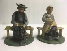 ANTIQUE VINTAGE CAST IRON AMISH COUPLE DECORATIVE BOOKENDS FIGURINES DOOR STOPS