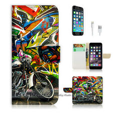 ( For iPhone 6 / 6S ) Wallet Case Cover! Graffiti And Motocycle P0340