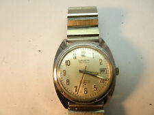 VINTAGE 21 JEWEL AUTOMATIC DATE GRUEN DUROMAT 7522 WATCH RUNS WITH STEEL BAND