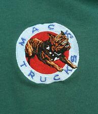 Vintage Mack Trucks Polo Rugby Shirt Teal Blue Bulldog Logo Mascot Patch XL