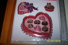 NIP 3 Big Large Huge Pretty STICKERS Valentines Love HEARTS, CupCakes