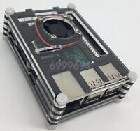 New Acrylic Case Enclosure Box + Cooling Fan + Heatsink For Raspberry Pi 3 B+