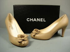 "CHANEL 37/7/6.5 CLASSIC BEIGE TAN LEATHER ROUND TOE CAMELLIA PUMPS HEEL ""CC"" NEW"