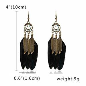 Charm Boho Women Hook Earrings Feather Drop Dangle Tassel Ethnic Jewelry Gift