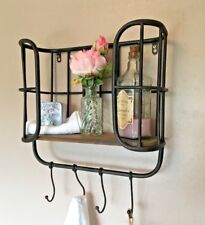 Vintage Industrial Style Wood Metal Wall Shelf Bathroom Storage Unit Hooks Urban