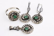 Turkish Handmade 925 Sterling Silver Emerald Topaz Sets Ring Size 6,7,8,9