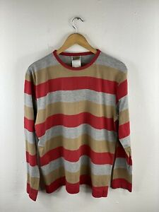 Carhartt Men's Long Sleeve T Shirt Size L Red Striped Crew Neck Casual Cotton