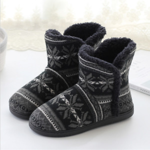 Home Slipper Bootie Slippers Women's Woolen Plush Lining Warm Indoor Ankle Boots
