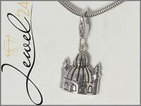 Damen Charm Anhänger echt Silber 925 Sterling rhodiniert Moschee mit Minarett