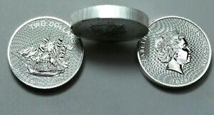 2020 $2 Cook Islands Bounty Sailing Ships 2 Oz 9999 Silver Coin Elizabeth II .,