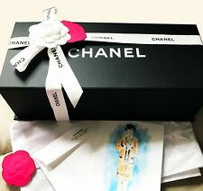 AUTHENTIC CHANEL BLACK MAGNETIC BOX W /CAMELLIA FLOWER & CHANEL RIBBON, TISSUES